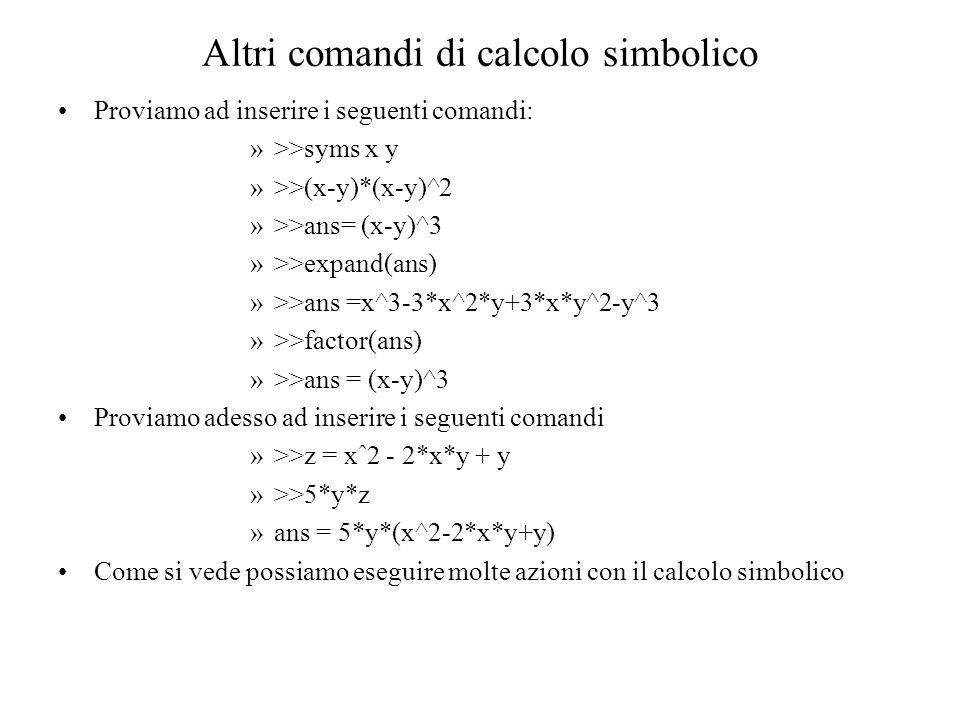 Altri comandi di calcolo simbolico Proviamo ad inserire i seguenti comandi: »>>syms x y »>>(x-y)*(x-y)^2 »>>ans= (x-y)^3 »>>expand(ans) »>>ans =x^3-3*x^2*y+3*x*y^2-y^3 »>>factor(ans) »>>ans = (x-y)^3 Proviamo adesso ad inserire i seguenti comandi »>>z = xˆ2 - 2*x*y + y »>>5*y*z »ans = 5*y*(x^2-2*x*y+y) Come si vede possiamo eseguire molte azioni con il calcolo simbolico