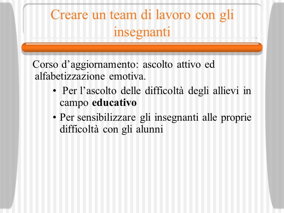Creare un team di lavoro con gli insegnanti Corso daggiornamento: ascolto attivo ed alfabetizzazione emotiva.