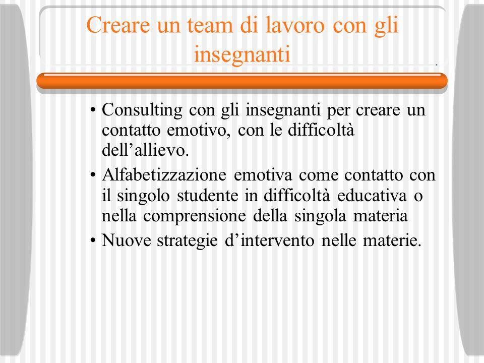 Creare un team di lavoro con gli insegnanti Consulting con gli insegnanti per creare un contatto emotivo, con le difficoltà dellallievo.