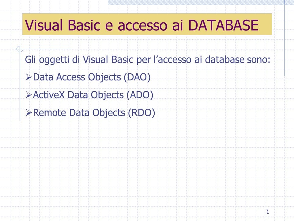 12 Per aggiornare il record inserito Private Sub cmdUpdate_Click() Data1.UpdateRecord Data1.Recordset.Bookmark = Data1.Recordset.LastModified End Sub Aggiornamento del record