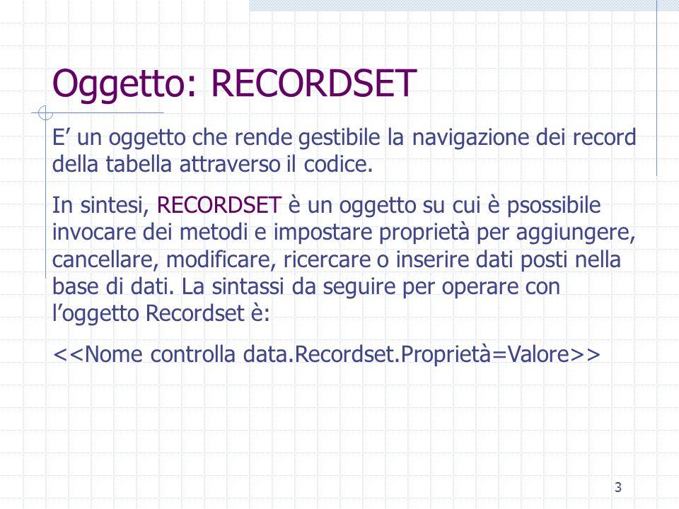3 Oggetto: RECORDSET E un oggetto che rende gestibile la navigazione dei record della tabella attraverso il codice. In sintesi, RECORDSET è un oggetto