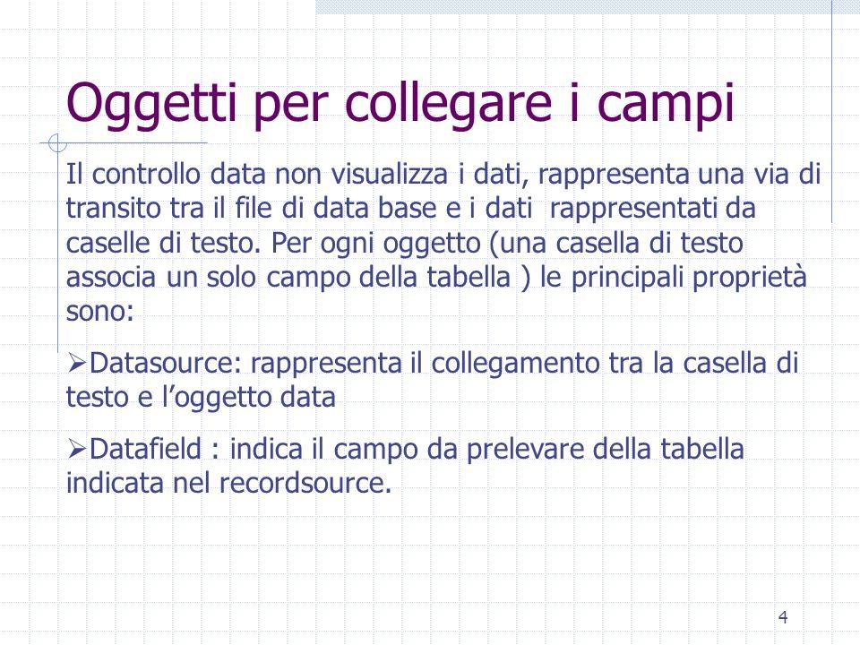 4 Oggetti per collegare i campi Il controllo data non visualizza i dati, rappresenta una via di transito tra il file di data base e i dati rappresenta