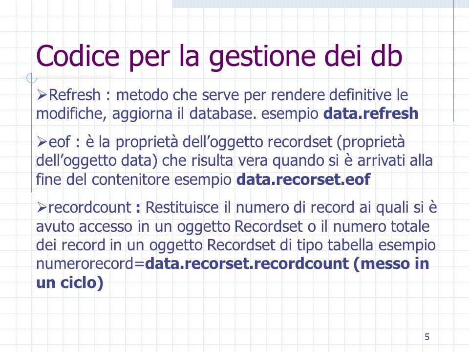 5 Codice per la gestione dei db Refresh : metodo che serve per rendere definitive le modifiche, aggiorna il database. esempio data.refresh eof : è la