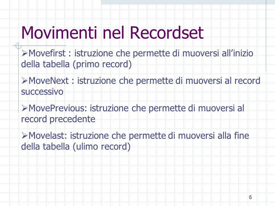 6 Movimenti nel Recordset Movefirst : istruzione che permette di muoversi allinizio della tabella (primo record) MoveNext : istruzione che permette di
