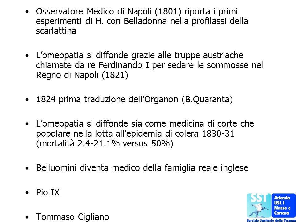 Osservatore Medico di Napoli (1801) riporta i primi esperimenti di H. con Belladonna nella profilassi della scarlattina Lomeopatia si diffonde grazie