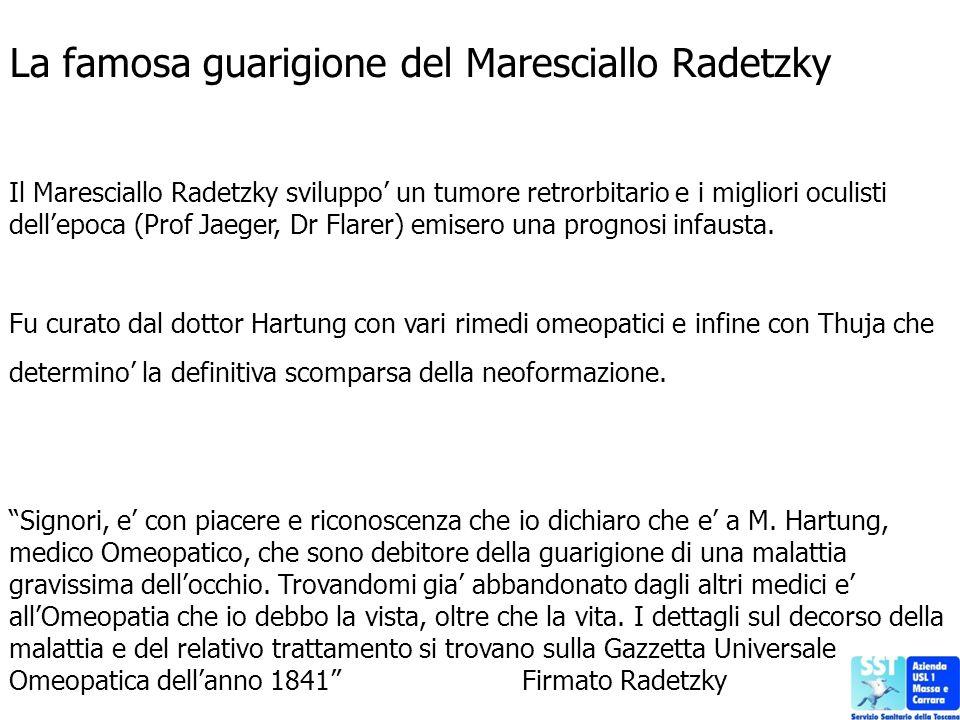 La famosa guarigione del Maresciallo Radetzky Il Maresciallo Radetzky sviluppo un tumore retrorbitario e i migliori oculisti dellepoca (Prof Jaeger, D
