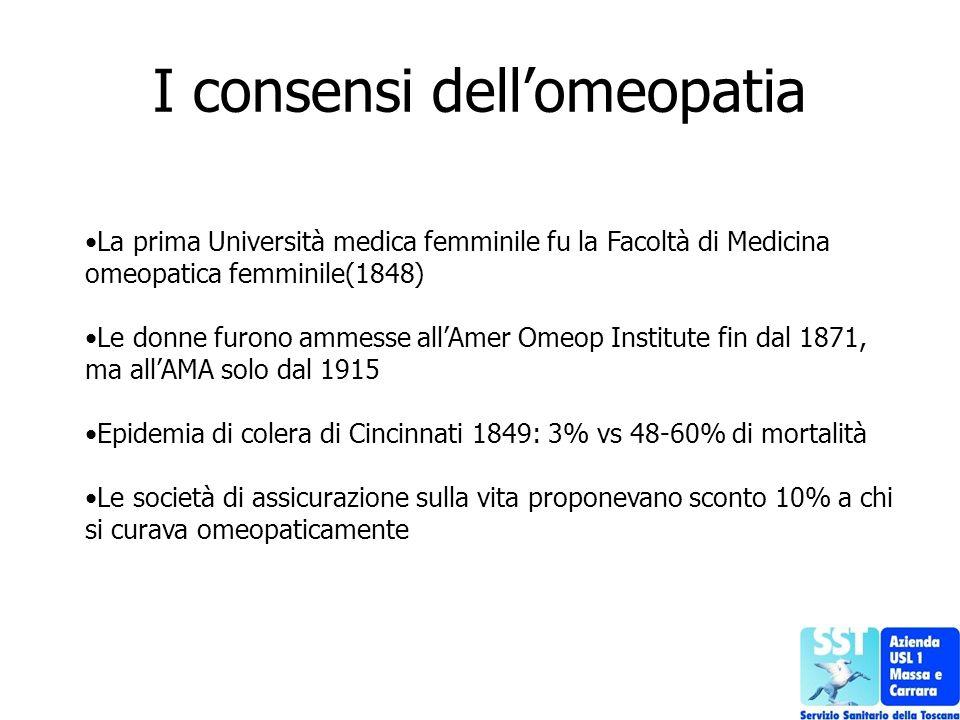 I consensi dellomeopatia La prima Università medica femminile fu la Facoltà di Medicina omeopatica femminile(1848) Le donne furono ammesse allAmer Ome