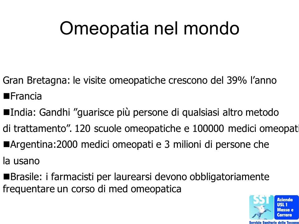 Omeopatia nel mondo Gran Bretagna: le visite omeopatiche crescono del 39% lanno Francia India: Gandhi guarisce più persone di qualsiasi altro metodo d