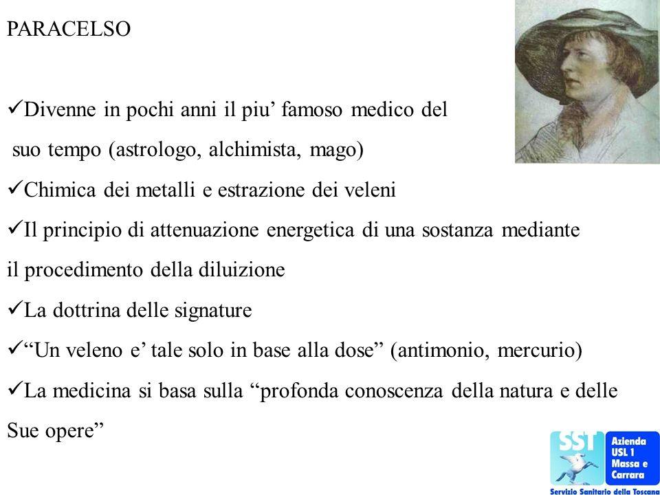 PARACELSO Divenne in pochi anni il piu famoso medico del suo tempo (astrologo, alchimista, mago) Chimica dei metalli e estrazione dei veleni Il princi