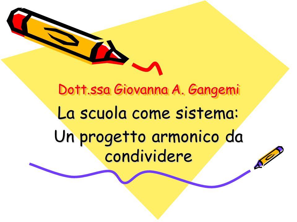Dott.ssa Giovanna A. Gangemi La scuola come sistema: Un progetto armonico da condividere
