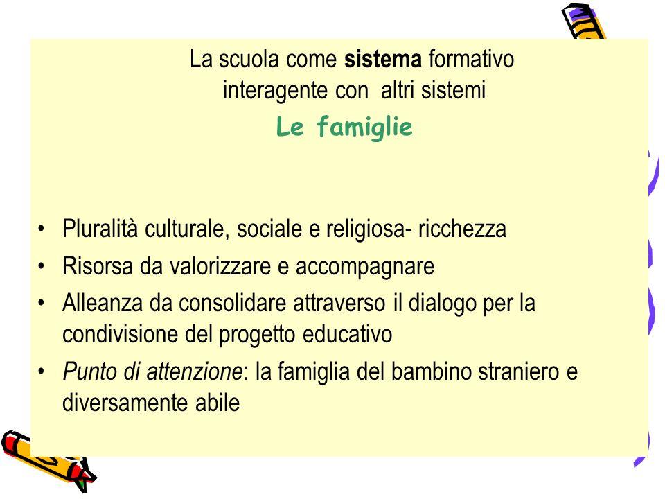 Le famiglie Pluralità culturale, sociale e religiosa- ricchezza Risorsa da valorizzare e accompagnare Alleanza da consolidare attraverso il dialogo pe