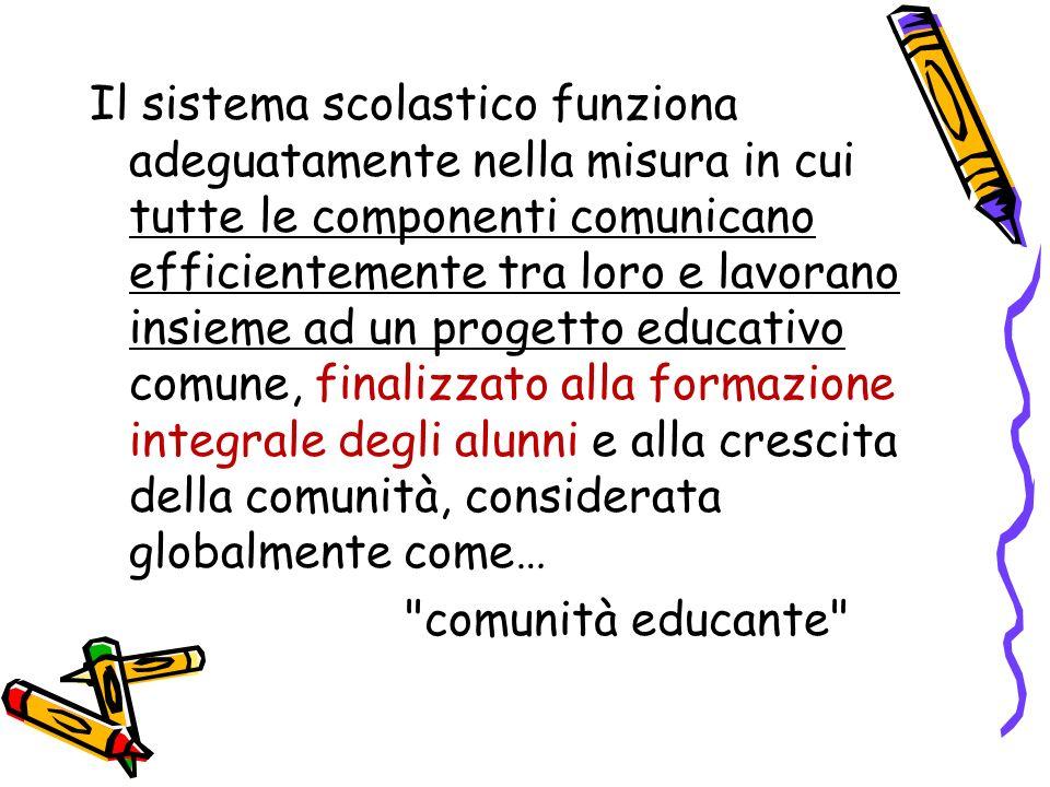 Il sistema scolastico funziona adeguatamente nella misura in cui tutte le componenti comunicano efficientemente tra loro e lavorano insieme ad un prog