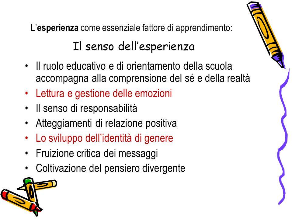 L esperienza come essenziale fattore di apprendimento: Il senso dellesperienza Il ruolo educativo e di orientamento della scuola accompagna alla compr