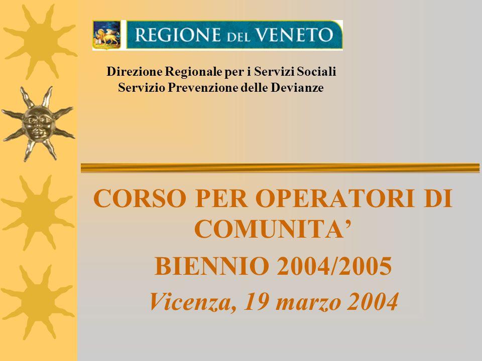 CORSO PER OPERATORI DI COMUNITA BIENNIO 2004/2005 Vicenza, 19 marzo 2004 Direzione Regionale per i Servizi Sociali Servizio Prevenzione delle Devianze