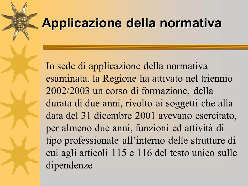 Applicazione della normativa In sede di applicazione della normativa esaminata, la Regione ha attivato nel triennio 2002/2003 un corso di formazione,