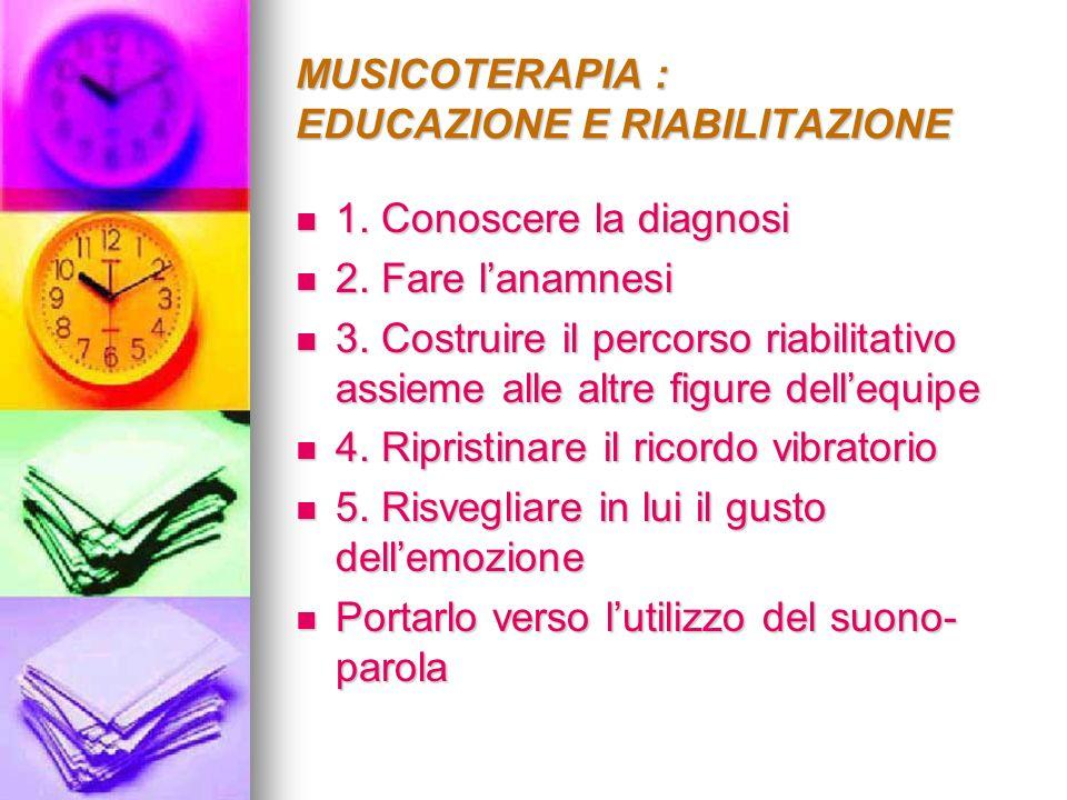 MUSICOTERAPIA : EDUCAZIONE E RIABILITAZIONE 1. Conoscere la diagnosi 1. Conoscere la diagnosi 2. Fare lanamnesi 2. Fare lanamnesi 3. Costruire il perc