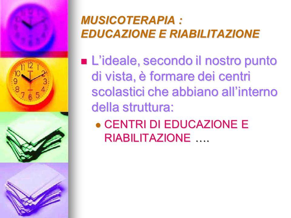 MUSICOTERAPIA : EDUCAZIONE E RIABILITAZIONE Dove attraverso un lavoro di equipe, multidisciplinare si possa aiutare e i bambini e le loro famiglie Dove attraverso un lavoro di equipe, multidisciplinare si possa aiutare e i bambini e le loro famiglie