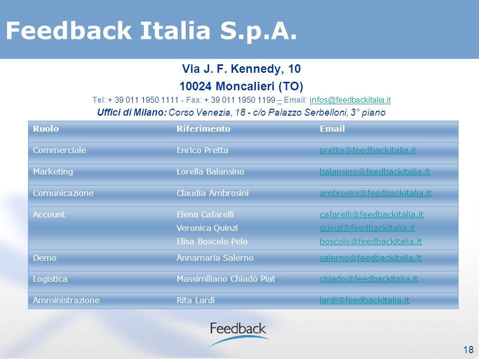 18 Feedback Italia S.p.A. Via J. F.