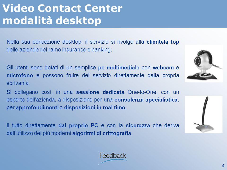 4 Video Contact Center modalità desktop Nella sua concezione desktop, il servizio si rivolge alla clientela top delle aziende del ramo insurance e banking.