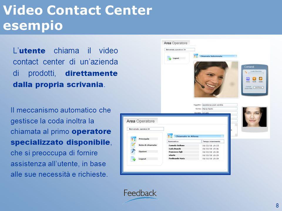 8 Video Contact Center esempio L utente chiama il video contact center di unazienda di prodotti, direttamente dalla propria scrivania.