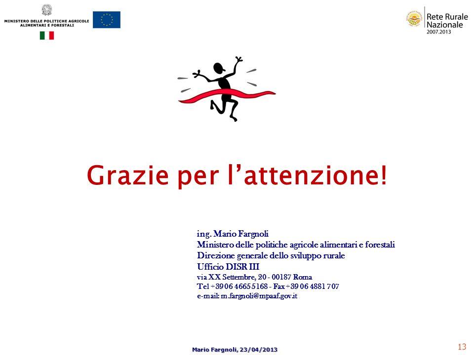 13 Mario Fargnoli, 23/04/2013 Grazie per lattenzione! ing. Mario Fargnoli Ministero delle politiche agricole alimentari e forestali Direzione generale