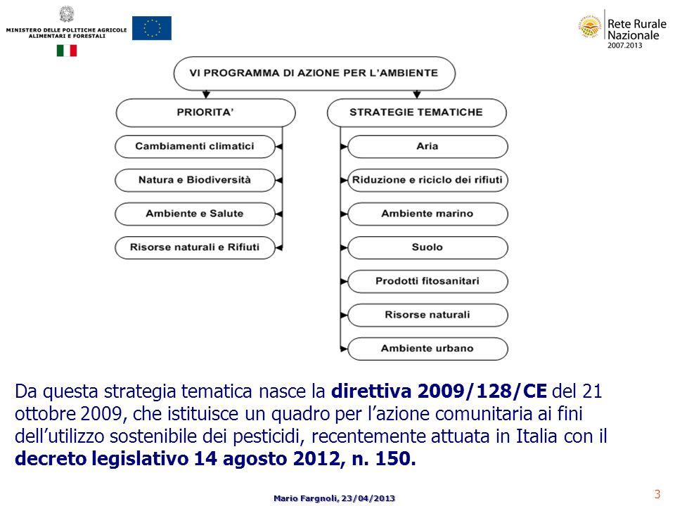 3 Mario Fargnoli, 23/04/2013 Da questa strategia tematica nasce la direttiva 2009/128/CE del 21 ottobre 2009, che istituisce un quadro per lazione com
