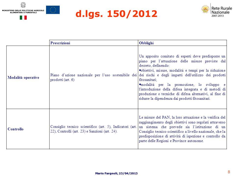 8 Mario Fargnoli, 23/04/2013 PrescrizioniObblighi Modalità operative Piano dazione nazionale per luso sostenibile dei prodotti (art. 6) Un apposito co
