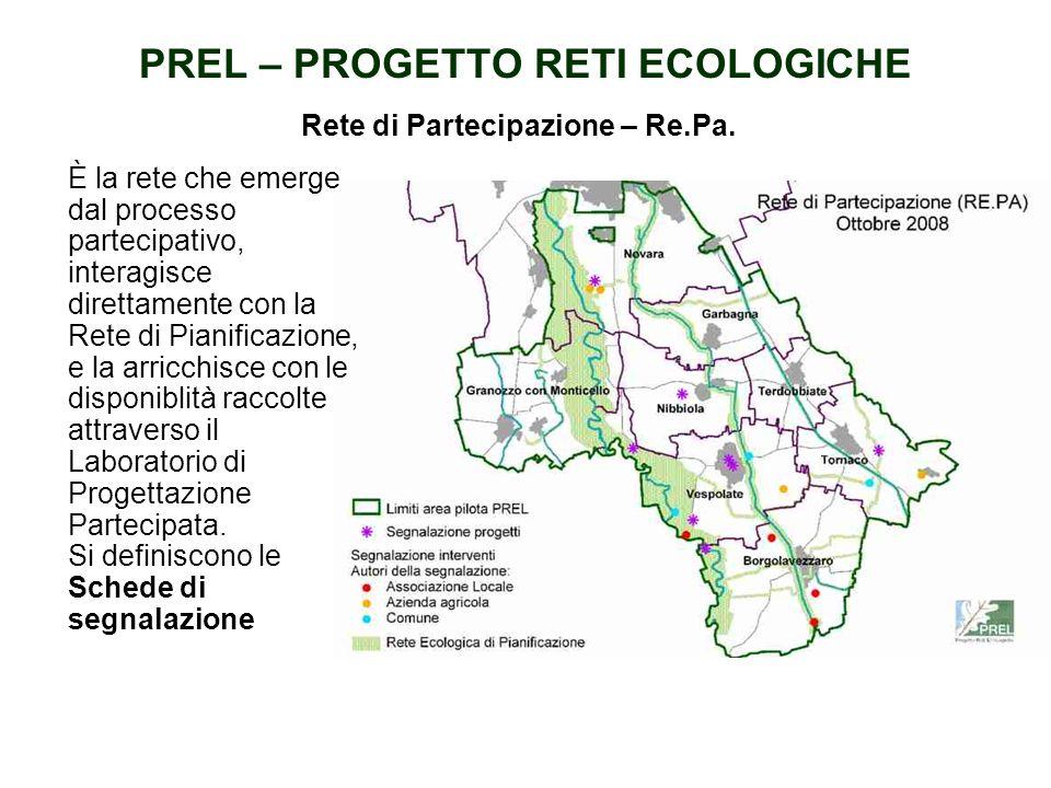 PREL – PROGETTO RETI ECOLOGICHE E data dalla sovrapposizione della Rete individuata dal PTP; della situazione del recepimento a scala locale nei PRG;