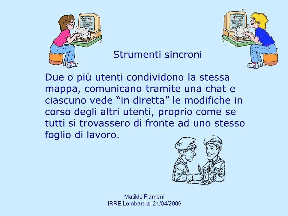 Matilde Fiameni IRRE Lombardia- 21/04/2006 Strumenti sincroni Due o più utenti condividono la stessa mappa, comunicano tramite una chat e ciascuno ved