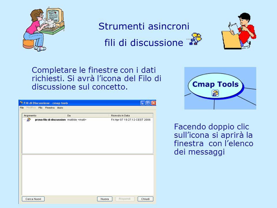 Matilde Fiameni IRRE Lombardia- 21/04/2006 Strumenti asincroni fili di discussione Completare le finestre con i dati richiesti. Si avrà licona del Fil