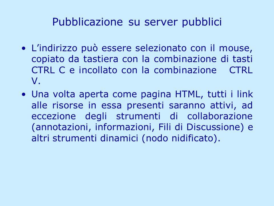 Matilde Fiameni IRRE Lombardia- 21/04/2006 Pubblicazione su server pubblici Lindirizzo può essere selezionato con il mouse, copiato da tastiera con la