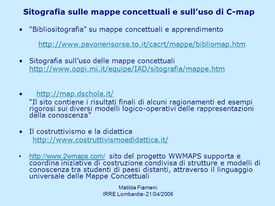 Matilde Fiameni IRRE Lombardia- 21/04/2006 Sitografia sulle mappe concettuali e sulluso di C-map