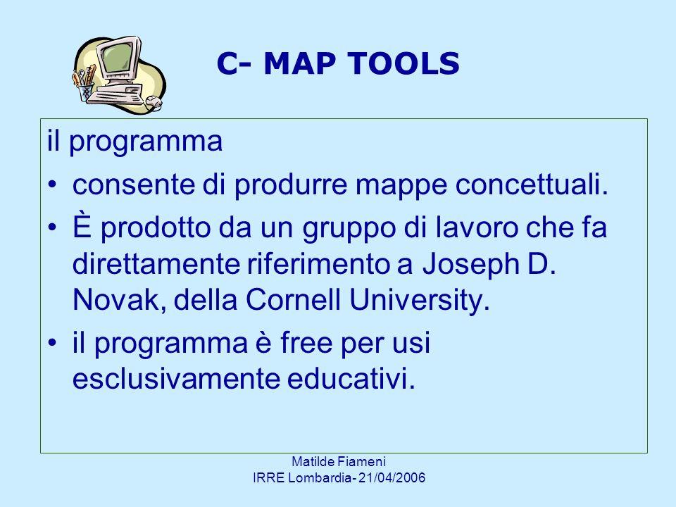 Matilde Fiameni IRRE Lombardia- 21/04/2006 C- MAP TOOLS il programma consente di produrre mappe concettuali. È prodotto da un gruppo di lavoro che fa