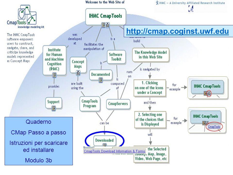 Matilde Fiameni IRRE Lombardia- 21/04/2006 http://cmap.coginst.uwf.edu Quaderno CMap Passo a passo Istruzioni per scaricare ed installare Modulo 3b
