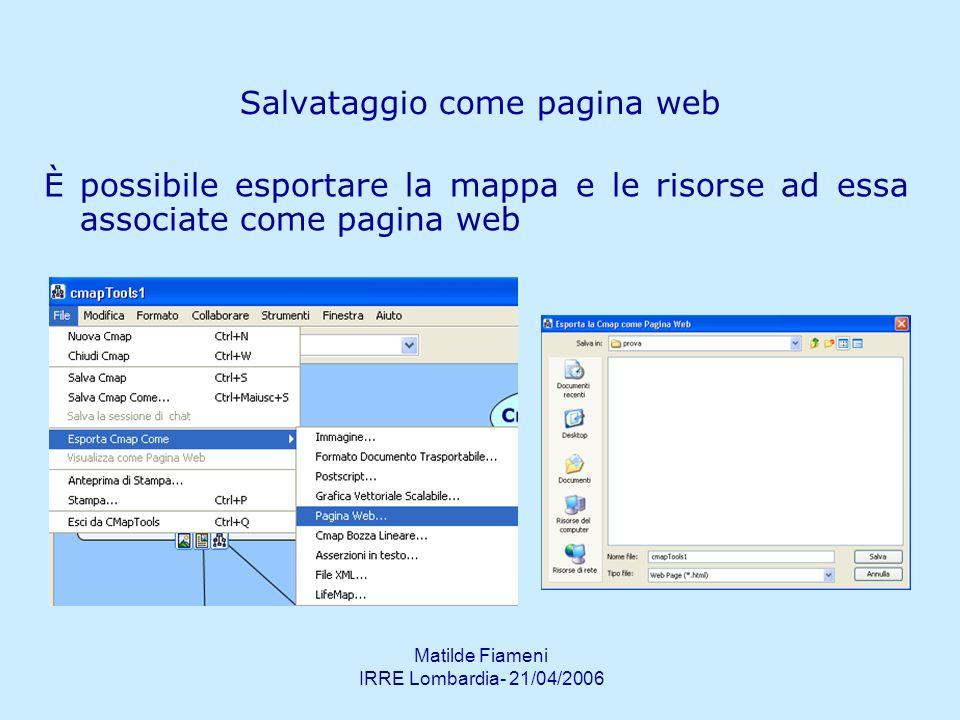 Matilde Fiameni IRRE Lombardia- 21/04/2006 Pubblicazione su server CMap pubblici Quando la mappa viene salvata sul server automaticamente viene pubblicata come pagina HTML allindirizzo che si trova alla base della mappa.