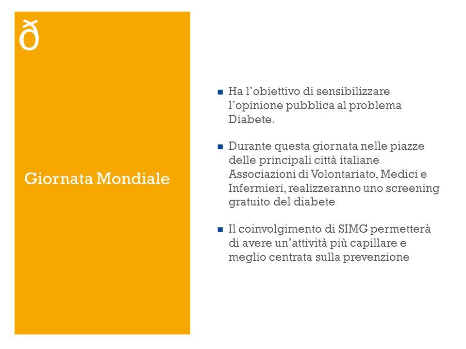 Giornata Mondiale Ha lobiettivo di sensibilizzare lopinione pubblica al problema Diabete. Durante questa giornata nelle piazze delle principali città