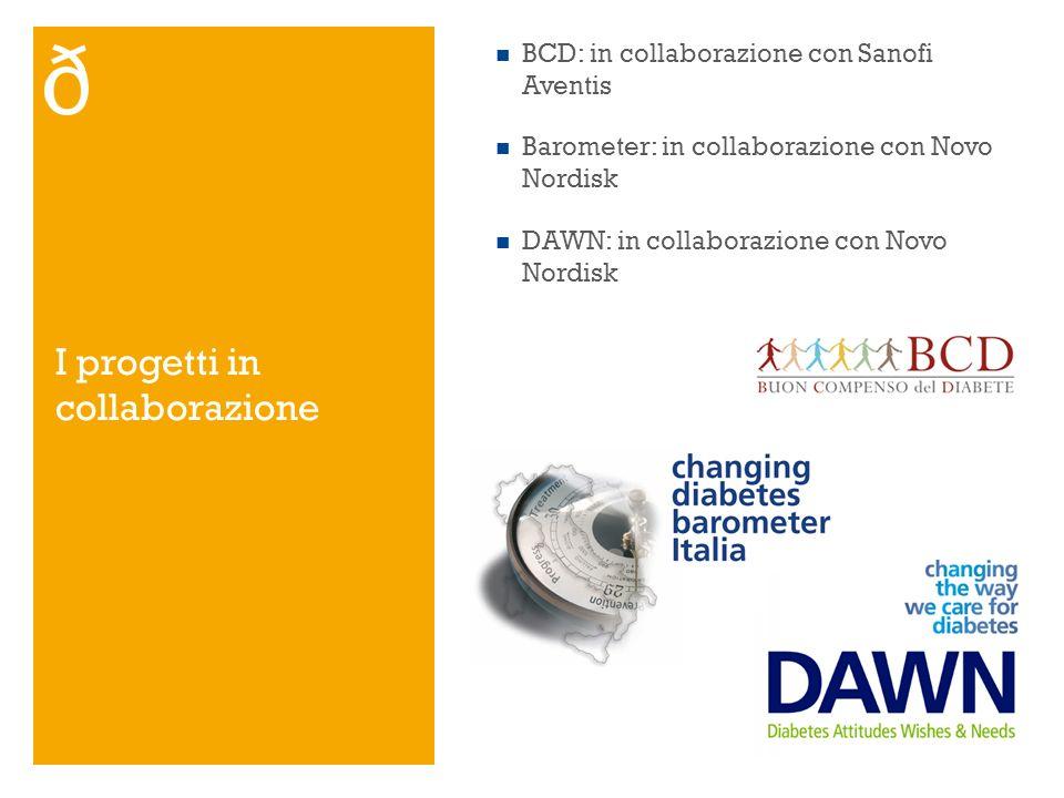 I progetti in collaborazione BCD: in collaborazione con Sanofi Aventis Barometer: in collaborazione con Novo Nordisk DAWN: in collaborazione con Novo