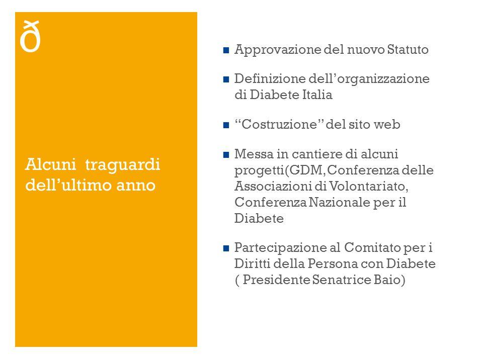 Alcuni traguardi dellultimo anno Approvazione del nuovo Statuto Definizione dellorganizzazione di Diabete Italia Costruzione del sito web Messa in can