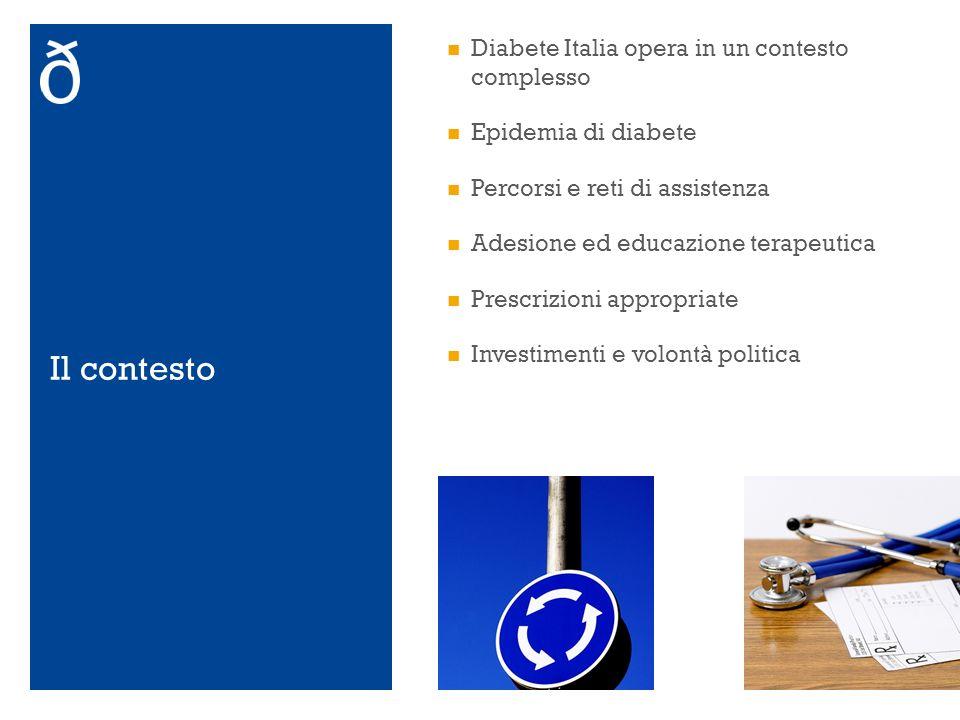 Il contesto Diabete Italia opera in un contesto complesso Epidemia di diabete Percorsi e reti di assistenza Adesione ed educazione terapeutica Prescri