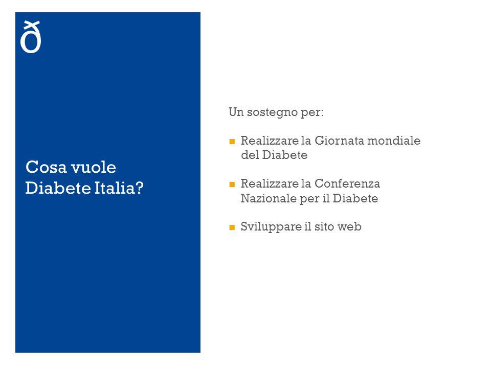 Cosa vuole Diabete Italia? Un sostegno per: Realizzare la Giornata mondiale del Diabete Realizzare la Conferenza Nazionale per il Diabete Sviluppare i