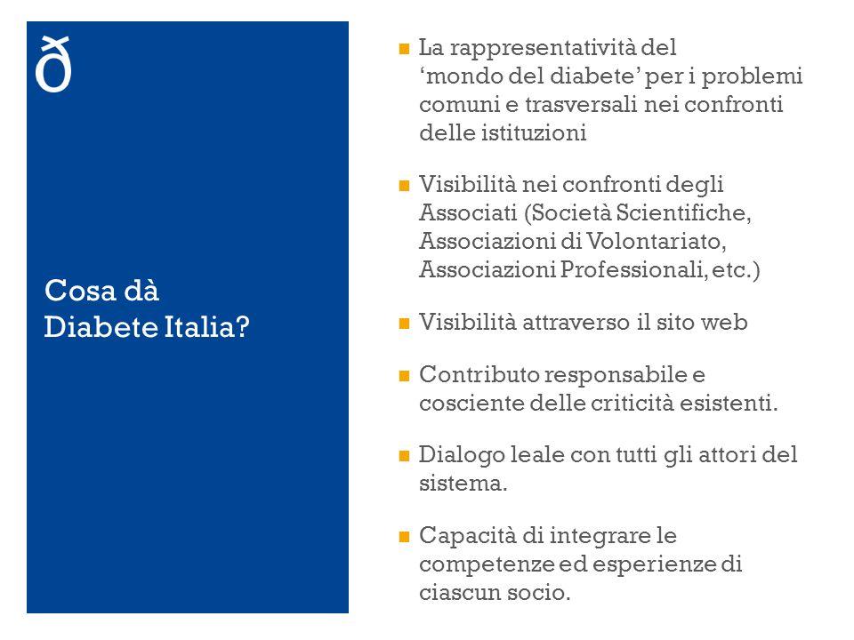 Cosa dà Diabete Italia? La rappresentatività del mondo del diabete per i problemi comuni e trasversali nei confronti delle istituzioni Visibilità nei