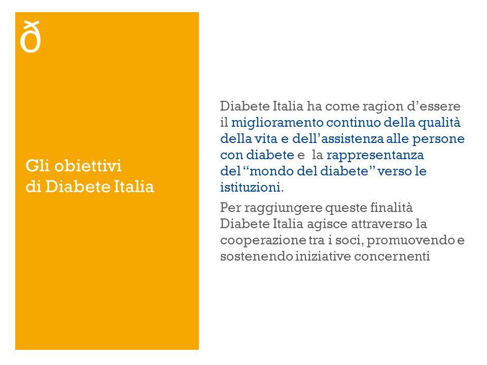 Diabete Italia ha come ragion dessere il miglioramento continuo della qualità della vita e dellassistenza alle persone con diabete e la rappresentanza