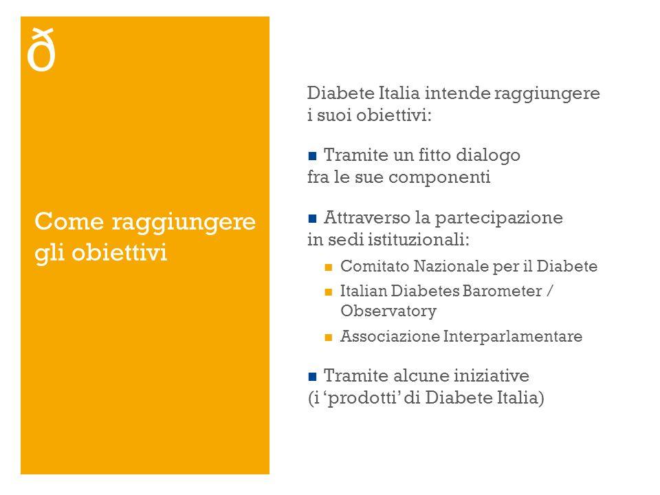 Come raggiungere gli obiettivi Diabete Italia intende raggiungere i suoi obiettivi: Tramite un fitto dialogo fra le sue componenti Attraverso la parte