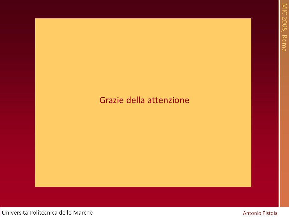 MIC 2008, Roma Antonio Pistoia Università Politecnica delle Marche Grazie della attenzione