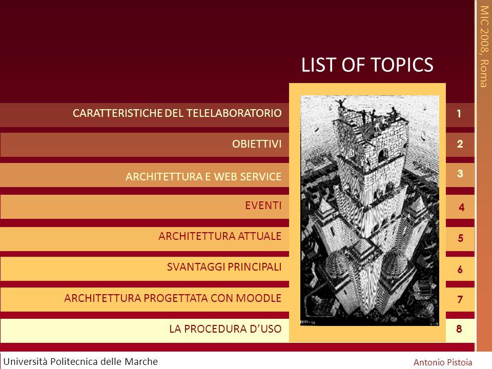 MIC 2008, Roma Antonio Pistoia Università Politecnica delle Marche 1 LIST OF TOPICS CARATTERISTICHE DEL TELELABORATORIO OBIETTIVI ARCHITETTURA E WEB SERVICE EVENTI ARCHITETTURA ATTUALE SVANTAGGI PRINCIPALI ARCHITETTURA PROGETTATA CON MOODLE LA PROCEDURA DUSO 2 3 5 4 6 7 8