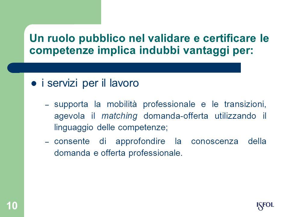 10 Un ruolo pubblico nel validare e certificare le competenze implica indubbi vantaggi per: i servizi per il lavoro – supporta la mobilità professiona