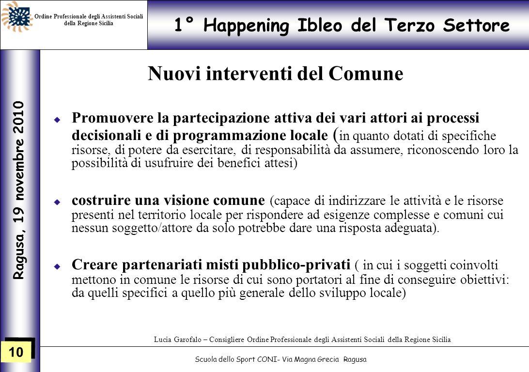 10 1° Happening Ibleo del Terzo Settore Ragusa, 19 novembre 2010 Scuola dello Sport CONI- Via Magna Grecia Ragusa Lucia Garofalo – Consigliere Ordine