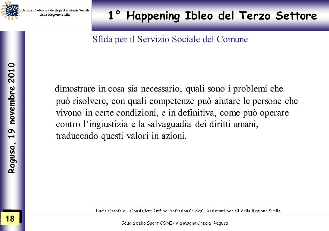18 1° Happening Ibleo del Terzo Settore Ragusa, 19 novembre 2010 Scuola dello Sport CONI- Via Magna Grecia Ragusa Lucia Garofalo – Consigliere Ordine