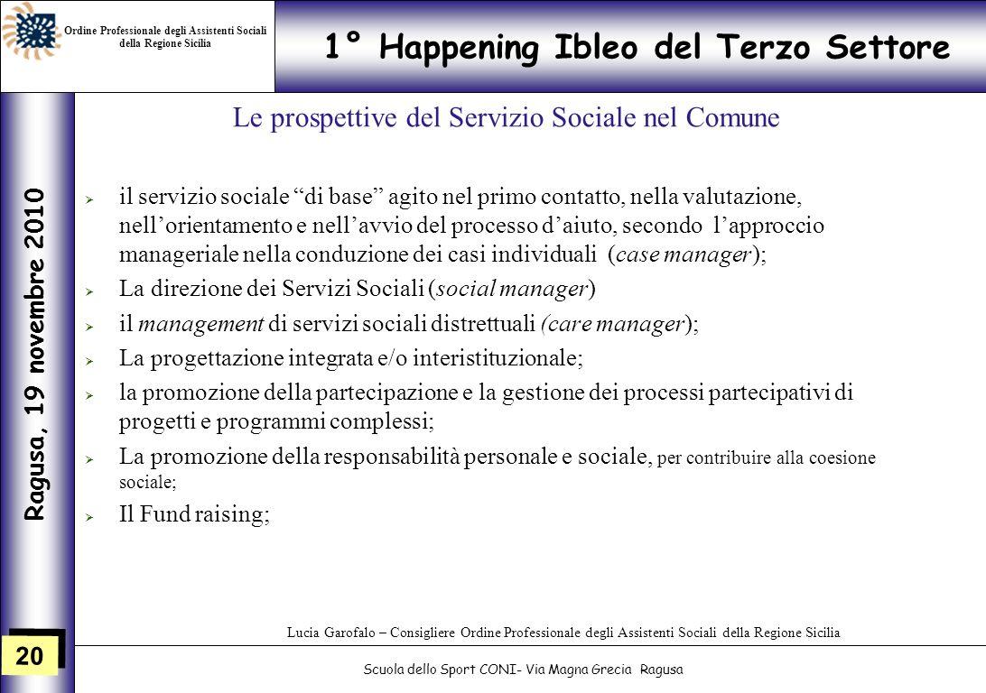 20 1° Happening Ibleo del Terzo Settore Ragusa, 19 novembre 2010 Scuola dello Sport CONI- Via Magna Grecia Ragusa Lucia Garofalo – Consigliere Ordine