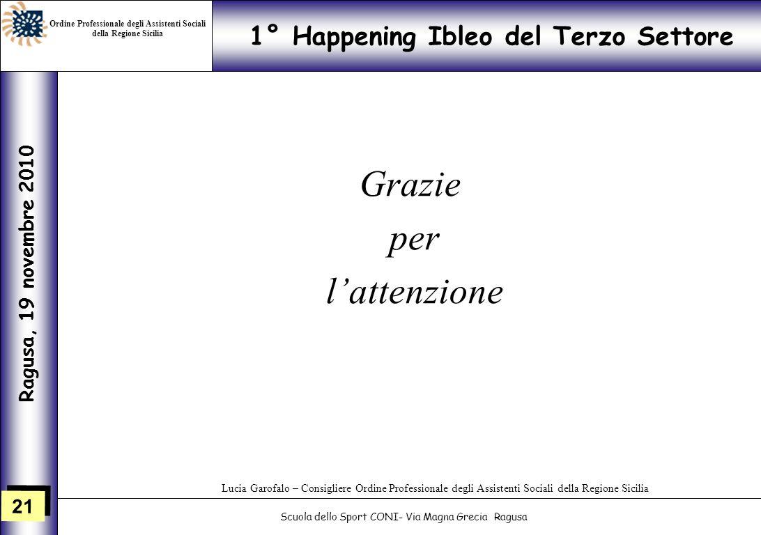 21 1° Happening Ibleo del Terzo Settore Ragusa, 19 novembre 2010 Scuola dello Sport CONI- Via Magna Grecia Ragusa Lucia Garofalo – Consigliere Ordine